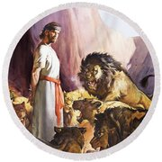 Daniel In The Lions' Den Round Beach Towel