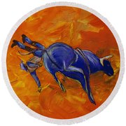 Round Beach Towel featuring the painting Danny At The Rodeo by Janice Rae Pariza
