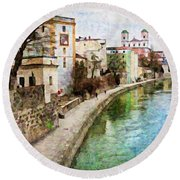 Danube River At Passau, Germany Round Beach Towel