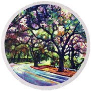 Dappled Lane Through The Arroyo Round Beach Towel