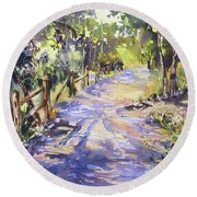 Round Beach Towel featuring the painting Dappled Morning Walk by Rae Andrews