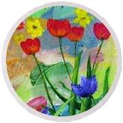 Daria's Flowers Round Beach Towel by Jamie Frier