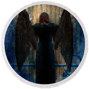 Dark Angel At Church Doors Round Beach Towel