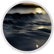 Round Beach Towel featuring the photograph Dark Atlantic Traces by Laura Fasulo