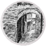 Dark Back Street In Siena Italy Conte Drawing Round Beach Towel