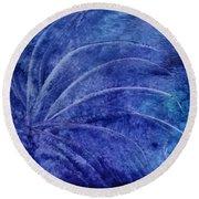 Dark Blue Abstract Round Beach Towel