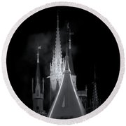 Round Beach Towel featuring the photograph Dark Castle by Mark Andrew Thomas