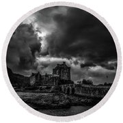 Dark Clouds Bw #h2 Round Beach Towel