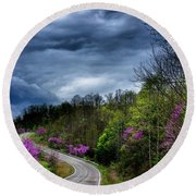 Round Beach Towel featuring the photograph Dark Clouds Over Redbud Highway by Thomas R Fletcher