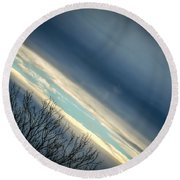 Dark Clouds Parting Round Beach Towel