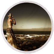 Dark Dramatic Fine Art Beauty Round Beach Towel