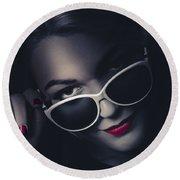 Dark Fashion Portrait. Female Model In Sunglasses Round Beach Towel