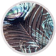 Dark Feathers Round Beach Towel