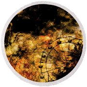Dark Ferris Wheel Round Beach Towel