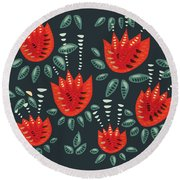 Dark Floral Pattern Of Abstract Red Tulips Round Beach Towel
