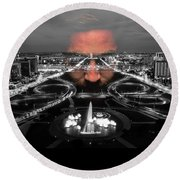 Dark Forces Controlling The City Round Beach Towel by ISAW Gallery
