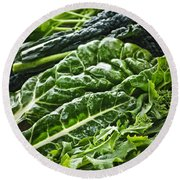Dark Green Leafy Vegetables Round Beach Towel by Elena Elisseeva