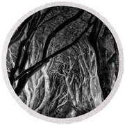 Dark Hedges Kings Road Round Beach Towel