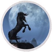 Round Beach Towel featuring the digital art Dark Horse And Full Moon by Daniel Eskridge