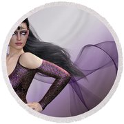 Dark Lady Round Beach Towel