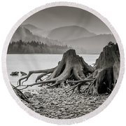 Dark Lake Round Beach Towel by Marius Sipa