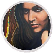Round Beach Towel featuring the painting Dark Latin Eyes by Sigrid Tune
