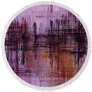 Round Beach Towel featuring the painting Dark Lines Abstract And Minimalist Painting by Ayse Deniz