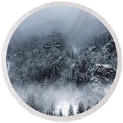 Dark Mountain Round Beach Towel