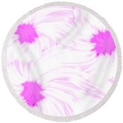 'dark Pink And White Flower Abstract' Round Beach Towel