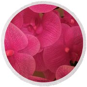 Dark Pink Orchids Round Beach Towel