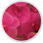 Dark Pink Orchids Round Beach Towel