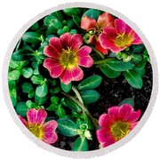 Dark Pink Purselane Flowers Round Beach Towel
