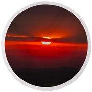 Dark Red Sun In Vogelsberg Round Beach Towel
