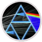 Round Beach Towel featuring the digital art Dark Side Of The Moon by Dan Sproul