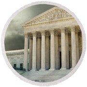 Dark Skies Above Supreme Court Of Justice Round Beach Towel