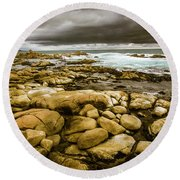 Dark Skies On Ocean Shores Round Beach Towel