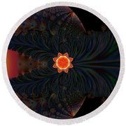 Dark Space Fractal  Round Beach Towel