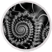 Dark Spirals - Fractal Art Black Gray White Round Beach Towel