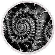 Dark Spirals - Fractal Art Black Gray White Round Beach Towel