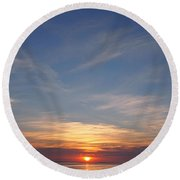 Round Beach Towel featuring the photograph Dark Sunrise by  Newwwman