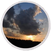 Dark Sunset Round Beach Towel