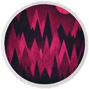 Dark Triangles - Peak Woods Abstract Grunge Mountains Design In Red Black Round Beach Towel