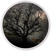 Dark Valley Round Beach Towel