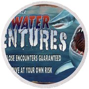 Dark Water Adventure Round Beach Towel