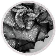 Round Beach Towel featuring the photograph Dark Wet Rose by T Brian Jones