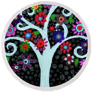 Round Beach Towel featuring the painting Darkness Of Light by Pristine Cartera Turkus