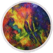 Darling Darker Dragonfly Round Beach Towel by Claire Bull
