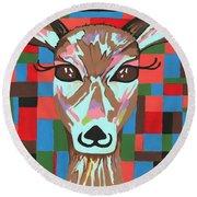 Round Beach Towel featuring the painting Darling Deer by Kathleen Sartoris