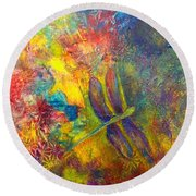 Darling Dragonfly Round Beach Towel by Claire Bull
