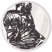 Round Beach Towel featuring the drawing Darren Mcfadden 1 by Jeremiah Colley